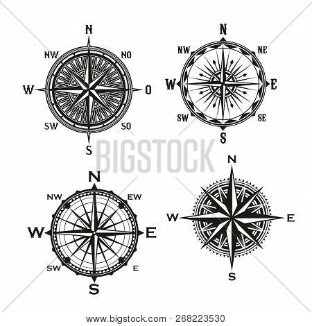 Rose Of Winds Symbol Of Nautical Navigation Compass, Marine And Seafarer Theme. Vector Icons Of Ship