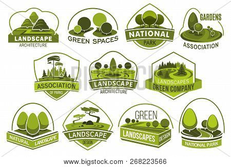 Landscape Design Company Vector Icons, Urban Horticulture Planting Premium Service. Vector Isolated