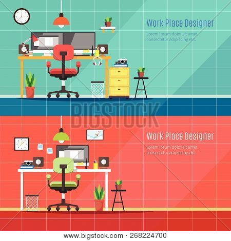 Graphic Designer Workplace, Flat Vector Illustration, Top View Of Workplace