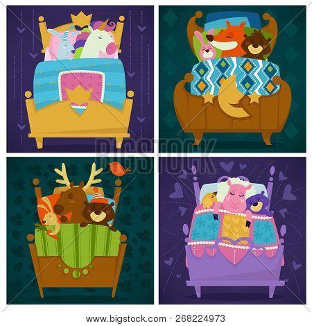 Animals Sleeping In Bed Fairytale Pets Asleep Set