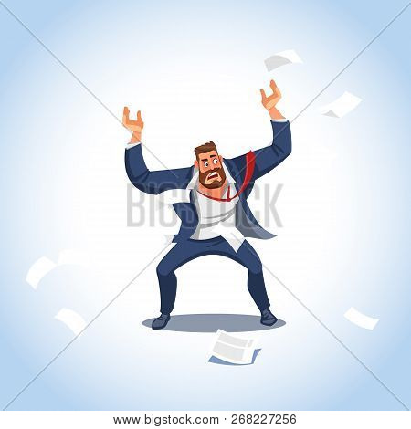 Vector Illustration Of Boss Under Stress. Stressed Vector Cartoon Characters. Angry Boss Stands Rais