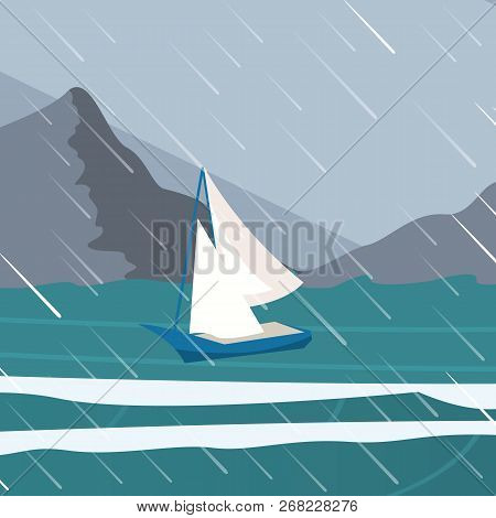Vector Picture Yacht Regatta Off The Coast. Vector Illustration Of A Cartoon Regatta Yachts Near The