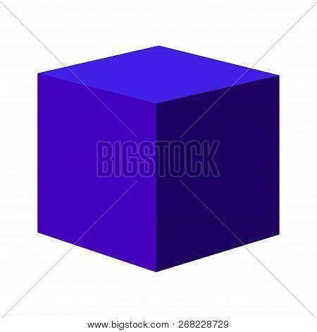Blue Gradient Vector Cube. Vector Icon Stock Illustration .