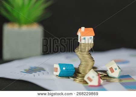 House Model On Top Of Stack Of Money As Growth Of Mortgage Credit, Concept Of Property Management. I