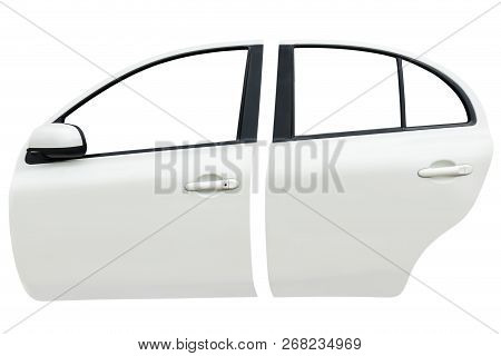 Image Of Side Front And  Back Car Door Isolated On White Background With Clip Path