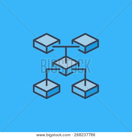 Blockchain Technology Vector Crypto Icon Or Logo Element On Blue Background