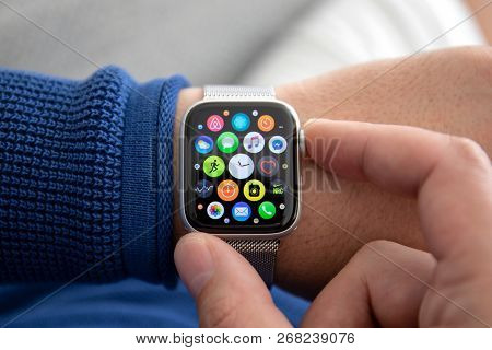 Alushta, Russia - November 3, 2018: Man Hand With Apple Watch Series 4 In The Home. Apple Watch Was