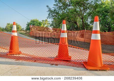 bike trail closure for construction - Poudre trail in northern Colorado