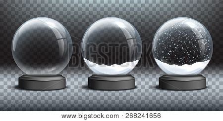 Snow Globe Templates. Empty Glass Snow Globe And Snow Globes With Snow On Transparent Background. Ve