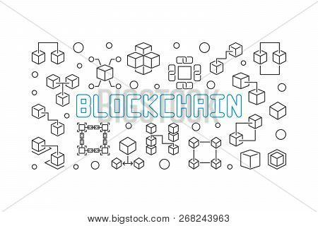 Blockchain Crypto Vector Concept Simple Horizontal Illustration In Thin Line Style