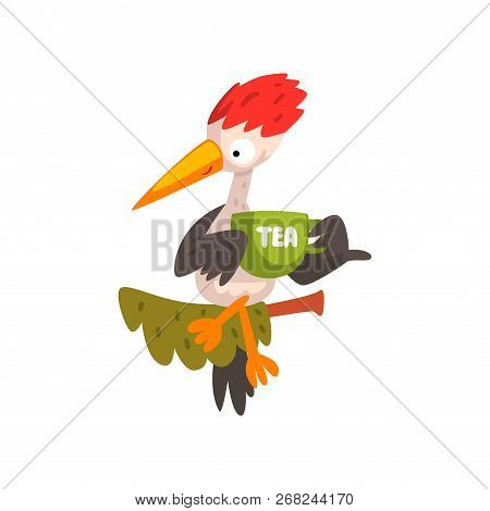 Cute Woodpecker Sitting On A Branch With A Cup Of Tea, Funny Bird Cartoon Character Vector Illustrat