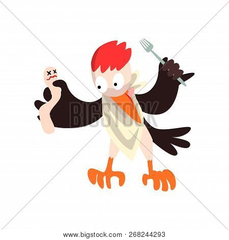 Funny Woodpecker With Dead And Fork, Bird Cartoon Character Going To Eat Vector Illustration On A Wh