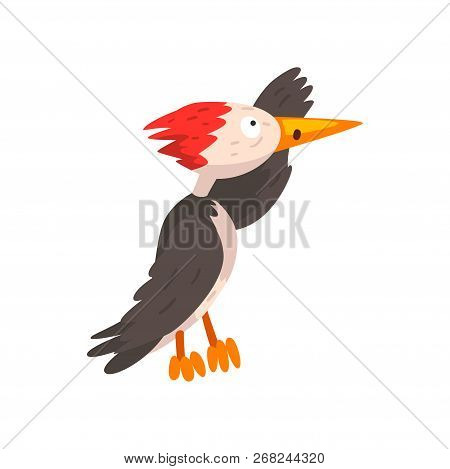 Cute Woodpecker Looking Into The Distance, Funny Bird Cartoon Character Vector Illustration On A Whi