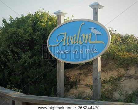 Avalon, Nj, Usa - July 25, 2014: Avalon, New Jersey Sign. A Road Sign Welcoming Visitors To The Well