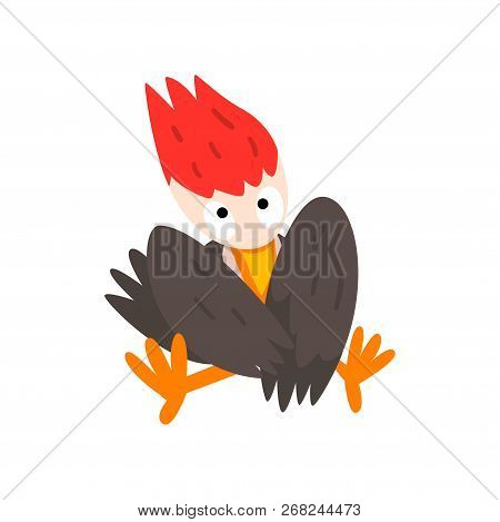 Cute Funny Woodpecker Bird Cartoon Character Sitting With Folded Wings Vector Illustration On A Whit
