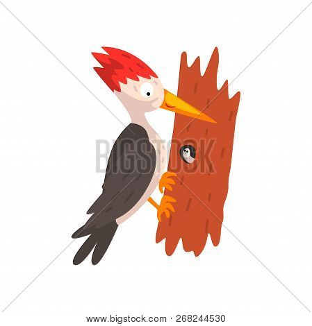 Cute Woodpecker Sitting On A Tree With A Worm, Funny Bird Cartoon Character Vector Illustration On A