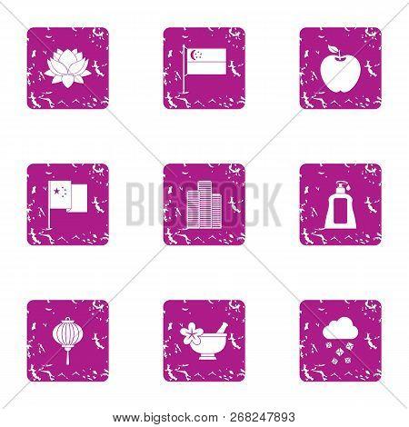 Esthetic Icons Set. Grunge Set Of 9 Esthetic Vector Icons For Web Isolated On White Background