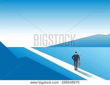 New Way Concept. Beginning Journey Adventures And Opportunities. Businessman On Road Outdoor. Busine