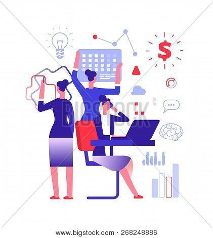 Multitasking Concept. Businesswoman Solving Urgent Tasks. Project Management, Achievement And Work S
