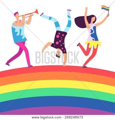 Lgbt Parade. People Holding Rainbow Flag. Gay Love Pride, Sexual Discrimination Protest On Rainbow.