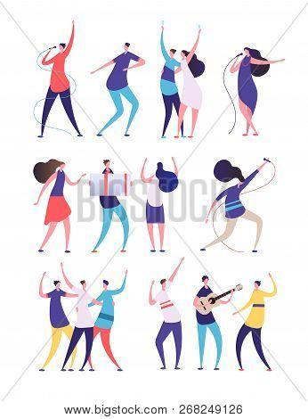 People On Birthday Party. Cartoon Men Women Sing, Dance Play Guitar, Clink Glasses. Friends Celebrat