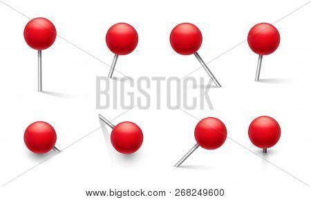 Push Pins. Metal Pin With Plastic Round Red Knob, Thumbtack In Different Pushing Angles. 3d Vector S