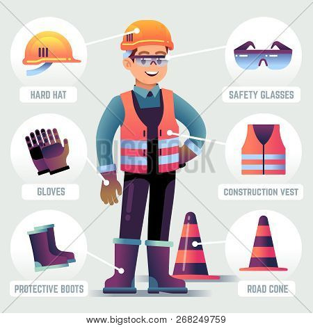 Worker With Safety Equipment. Man Wearing Helmet, Gloves Glasses, Protective Gear. Builder Protectio