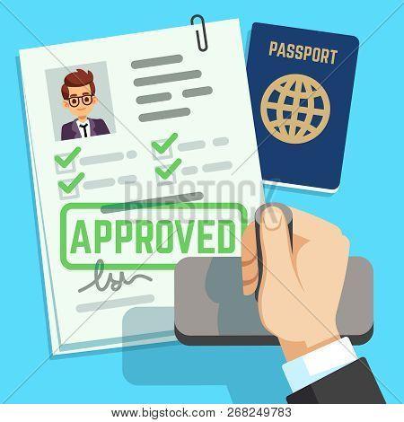 Visa Concept. Passport Or Visa Application. Travel Immigration Stamp Vector Illustration. Immigratio