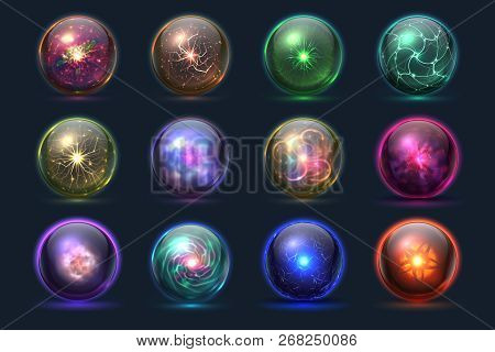 Magical Crystal Orbs. Glowing Magic Balls, Mysterious Paranormal Wizard Spheres. Vector Set Of Cryst
