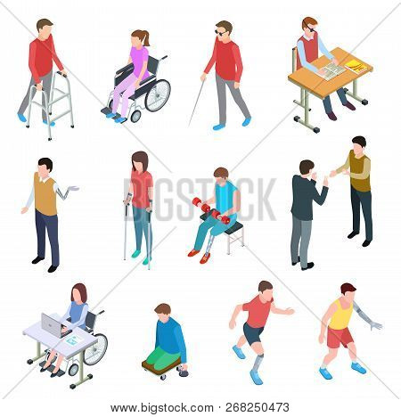 Disabled People Isometric. Persons With Injury In Wheelchair, With Prosthetic Limbs, Blind And Elder