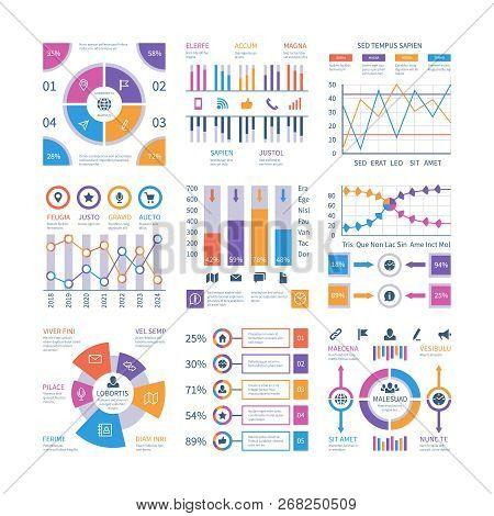Infographics Elements. Flow Infograph, Process Chart Timeline, Step Diagram Organization Graphic. Pr