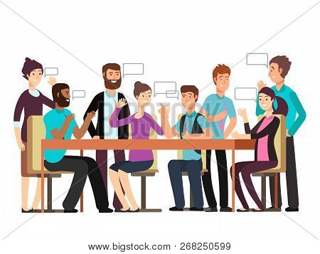 Cartoon Character Business Team Have Conversation. Woman And Man At Morning Meeting. Illustration Of