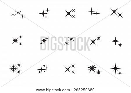 Star Sparkling. Stars, Twinkles Black Silhouettes Vector Isolated Collection. Illustration Of Star A