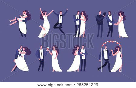 Married Couples. Newly Wed Bride And Groom, Wedding Celebration Cartoon Characters. Just Married Hap