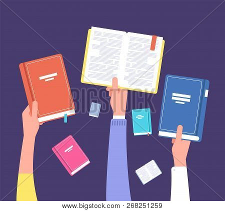 Hands Holding Books. Public Library, Literature And Readers. Education And Knowledge Vector Concept.