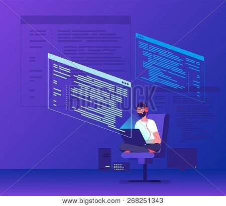 Programmer Coding. Young Man Freelancer Working On Program Code With Laptop. Geek Coding Software Ve