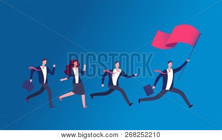 People Holding Flag And Running. Business Leader Leading Office Team. Leadership Vector Concept. Ill