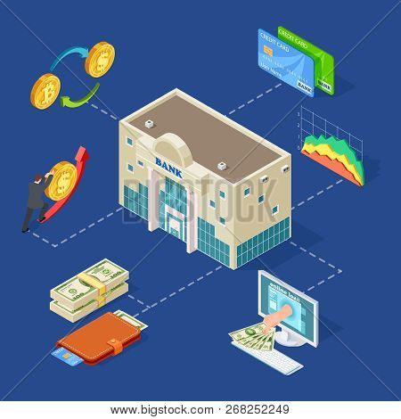 Banking Isometric Vector Concept With Bank Building, Coins, Online Services. Illustration Of Busines