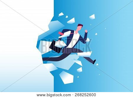 Breaking Wall Concept. Strong Man Jamps Through Barrier. Personal Growth, Business Success And Succe