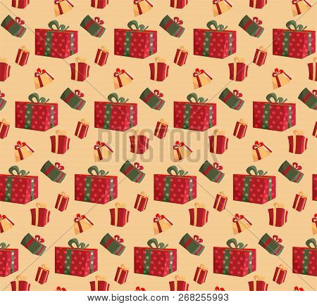 Party Presents Colorful Seamless Pattern On Beige Background. Pattern Gift Box For Fabric Print, Wra