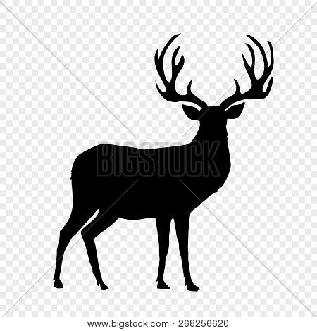 Black Silhouette Of Reindeer With Big Horns Isolated On Transparent Background. Vector Illustration,