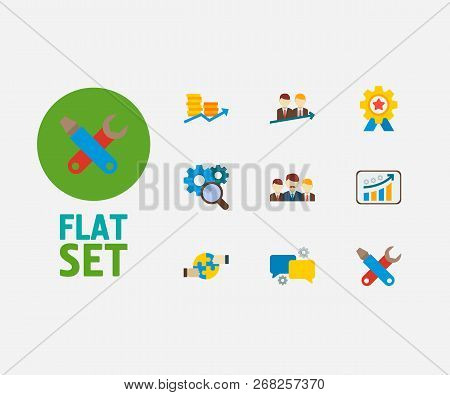 Partnership Icons Set. Teamwork And Partnership Icons With Successful Partnership, Growth And Financ