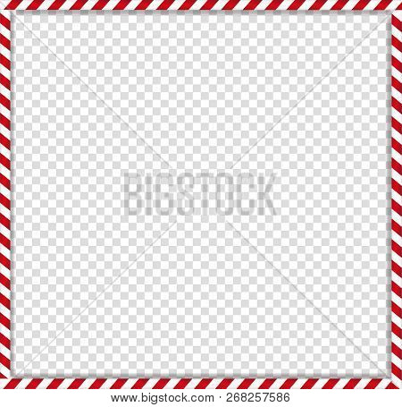 Christmas, New Year Square Cane Photo Frame With Red And White Striped Lollipop Candy Pattern Isolat