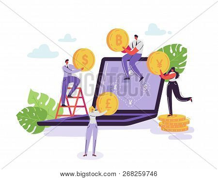 Mobile Currency Exchange Service. Online Banking Concept With Characters And Money. Businessman And