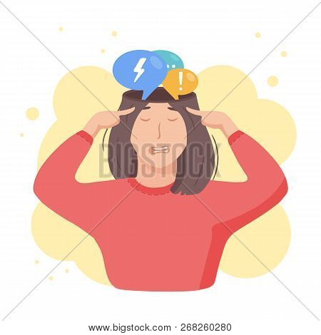 Inside Woman's Head Concept. Girl Tired Of Thoughts And Mind Debates. Introvert Feeling Bad And Over