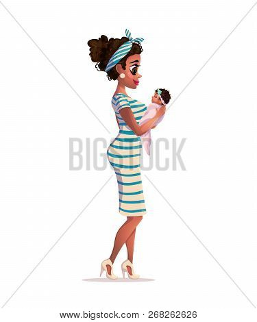 Happy African American Mother. Mother And Child Isolated. Mother White Background. Young African-ame