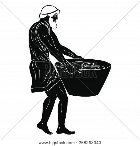 Ancient Greek Man Slave With A Heavy Basket In His Hands. Figure Isolated On White Background.