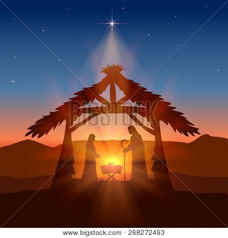 Holiday Theme. Christian Background With Christmas Star And Birth Of Jesus, Illustration.
