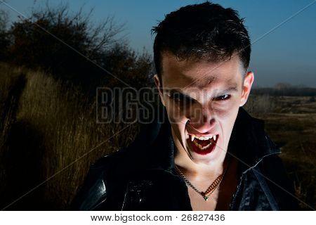 Portrait of a male vampire