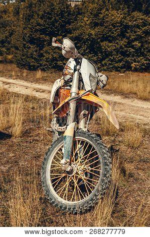 Orange Motorcross Bike. Close Up. Object. Macro Photography